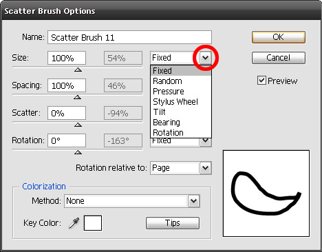 scatter brush settings