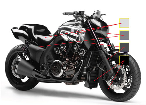 Vector motorcycle color selection