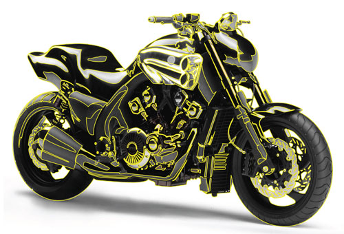 Vector motorcycle line art