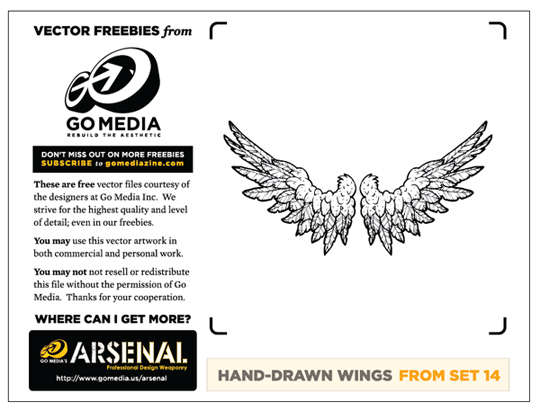 hand drawn wings freebie vector