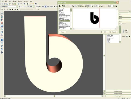 Rendering first letter in Xara 3D
