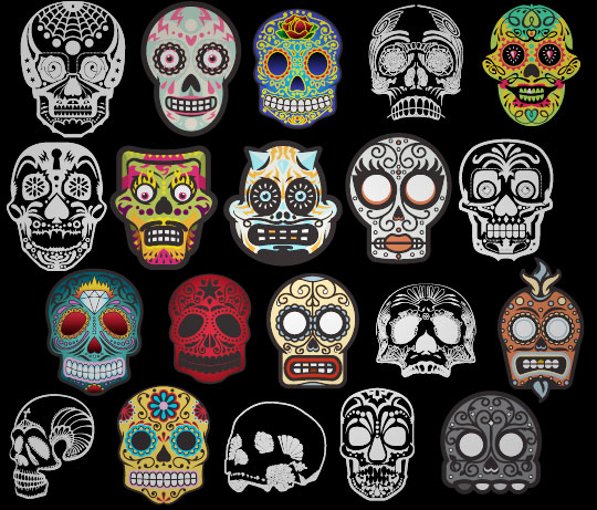 Go Media - Vector set 20 - Sugar skulls