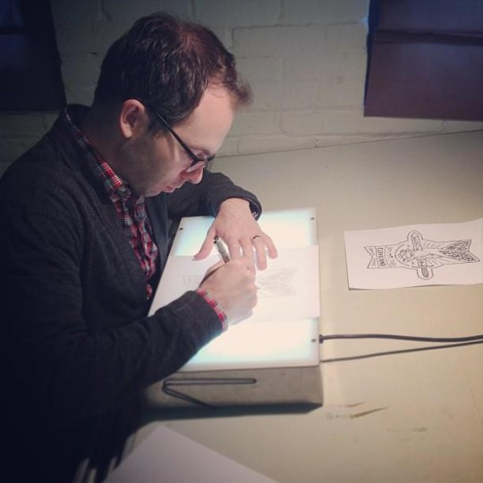 jeff finley drawing with a light box