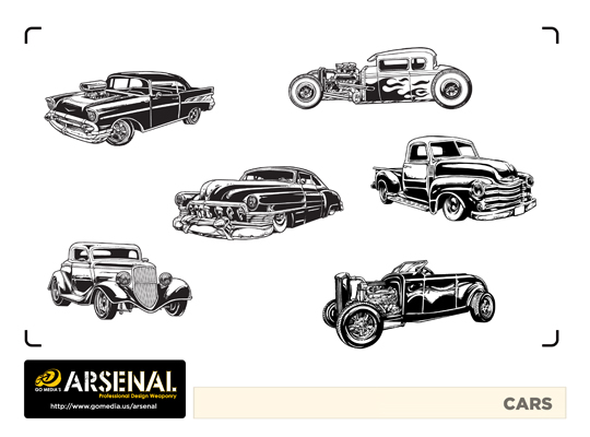 Go Media's Arsenal - Vector set 22 - Cars